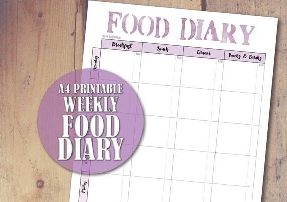 printable food diary a4 food log page food diary sheet etsy