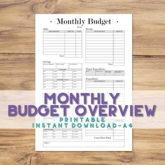 printable a4 monthly budget tracker a4 budget planner sheet etsy