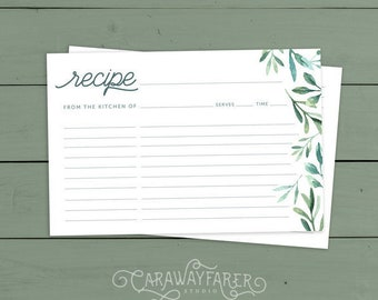 Floral Recipe Cards Printable 4x6 Recipe Card Template Kitchen | Etsy