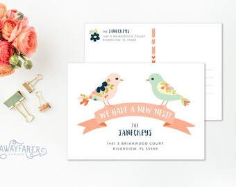New Address Announcement Postcard Moving Announcement Printable Change of Address Cards New Home Postcard House Moving Cards Download Nest