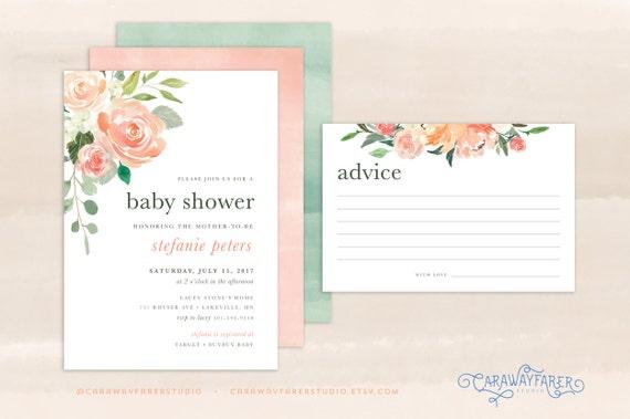 Spring baby shower invitation printable girl advice card etsy image 0 filmwisefo
