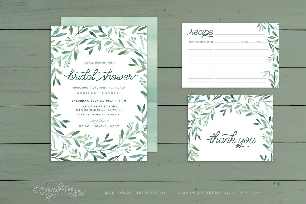 Greenery Bridal Shower Invitation Suite Recipe Card Thank You