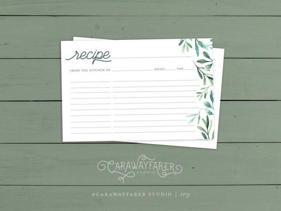 Printable Sage Green Recipe Cards X Recipe Card Template Kitchen - 4x6 recipe card template