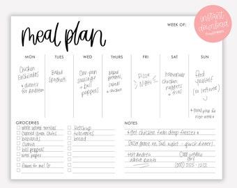 Printable Menu Planner - Menu Planner with Grocery List and Notes - Printable Menu - Weekly Menu Planner - Minimal Meal Planner - PDF