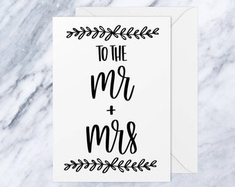 Mr and Mrs Card - Wedding Card - Engagement Card - Wedding Shower Card - Bride and Groom Card - Mr and Mrs