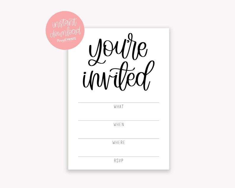 graphic relating to Printable Invitations named Youre Invited Printable Invites - Fill within just the Blank Invites - Invitation Down load - Downloadable