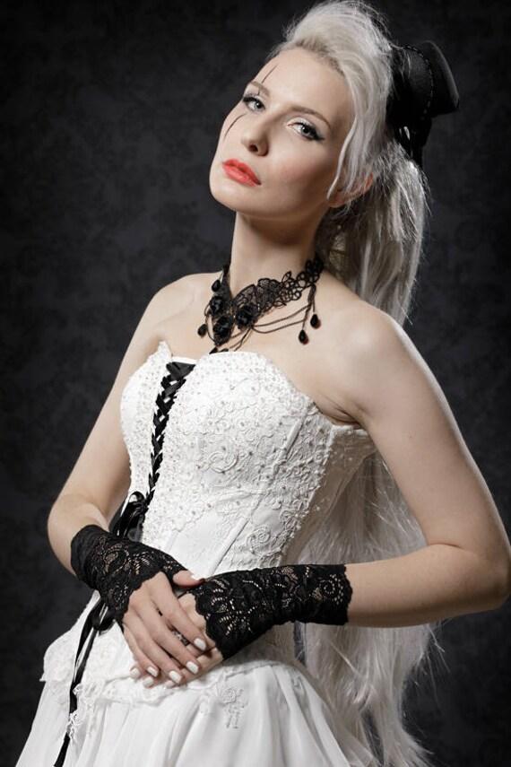Schwarz Weisses Extravagantes Hochzeitskleid Besondere Etsy