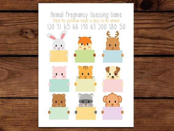 Animal Pregnancy Baby Shower Game Guess The Gestation Period Etsy