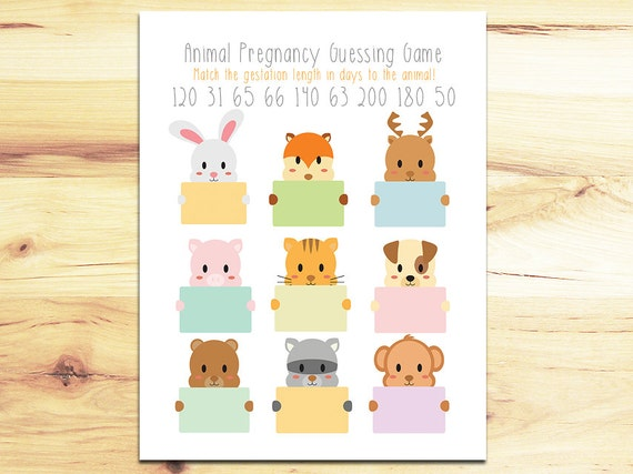 Animal Pregnancy Baby Shower Game Guess The Gestation Period Of