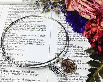 Memory flower bangle charm bracelet with wing