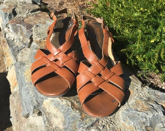 Naturalizer Brown Leather Wedge Sandals