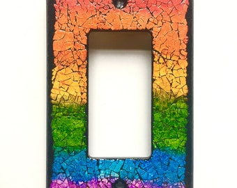 rainbow switchplate, eggshell mosaic, light switch plate, one of a kind, single wide toggle, OOAK, LGBTQ, housewarming present, unique gift