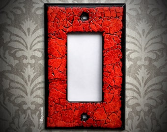 Eggshell Mosaic Light Switch Plate, Single Wide Toggle, OOAK, Red, Small Housewarming Gift, Unique
