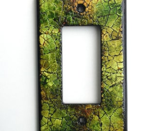 Eggshell Mosaic Light Switch Plate, Single Wide Toggle, OOAK, Small Housewarming Gift, Woodsy, Olive Green, Unique