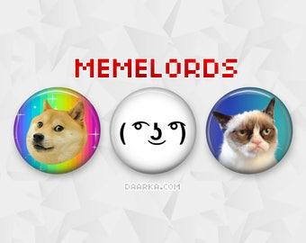 Memelord Set - Doge, Grumpy Cat, Lenny (Pin-Back Buttons)