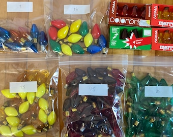 Lot of 130 Vintage Opaque + Transparent Coloured C7 Christmas Light Bulbs *Tested Working*
