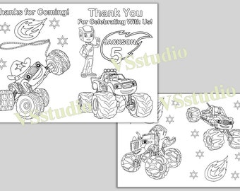 Personalized Blaze And The Monster Machines Coloring Pages Etsy