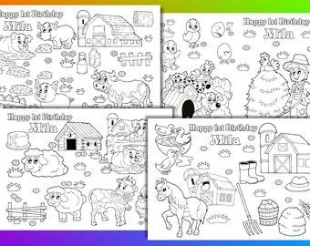 Farm Animals Coloring Pages Party Favor PDF File