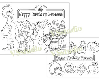 Sesame Street Birthday Party Personalized Coloring Pages Etsy