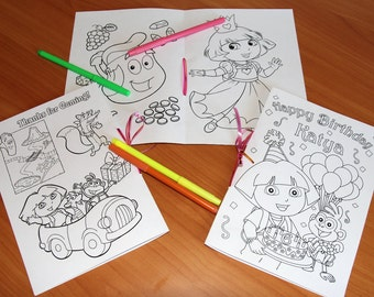 Dora The Explorer Birthday Party Coloring Pages Activity Book PDF File