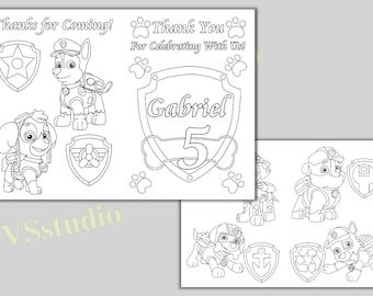 PAW Patrol Birthday Party Thank You Coloring Pages Activity Book PDF File