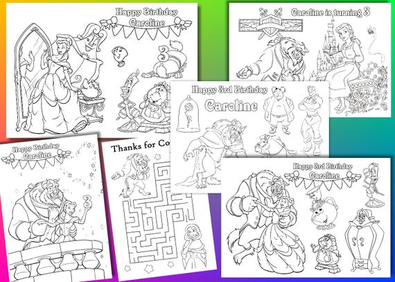 Beauty And The Beast Birthday Party Coloring Pages