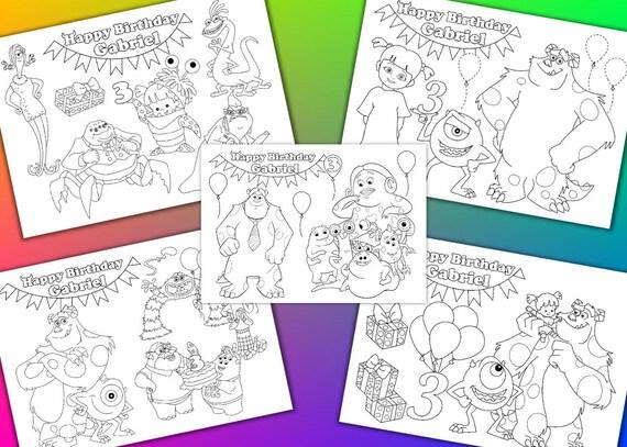 Fiesta de cumpleaños de Monster Inc para colorear páginas | Etsy