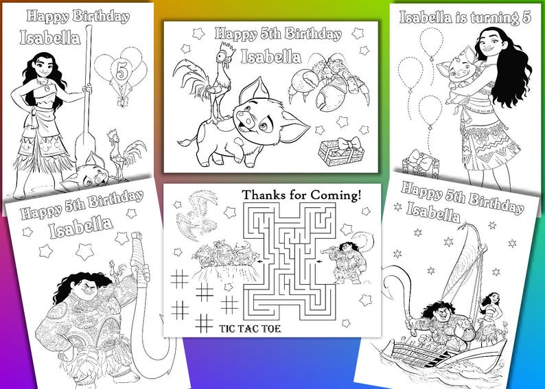 Moana Coloring Pages Moana Birthday Party Favor Pdf File Etsy