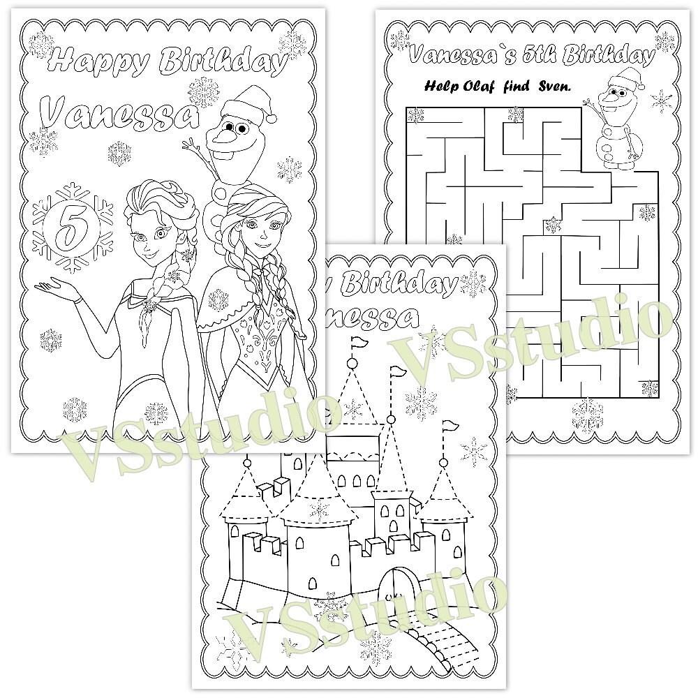 Gefrorene Geburtstagsparty Malvorlagen PDF-Datei