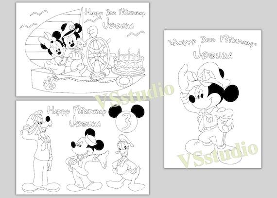 Fiesta de cumpleaños de Mickey Mouse de marinero para colorear | Etsy