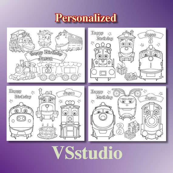 Chuggington Trains Birthday Party Favor, Chuggington Trains coloring pages,  PDF file