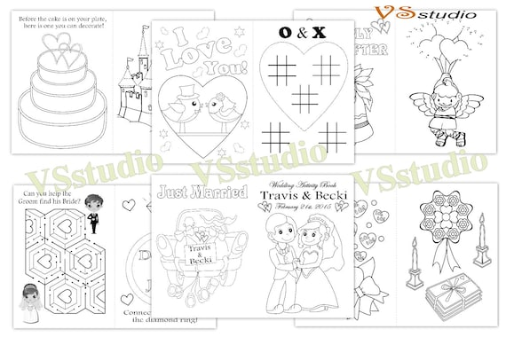 Kids Wedding Activity Coloring Book Personalized Wedding Etsy