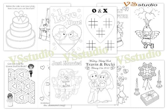 Niños actividad para colorear libro de la boda personalizada | Etsy
