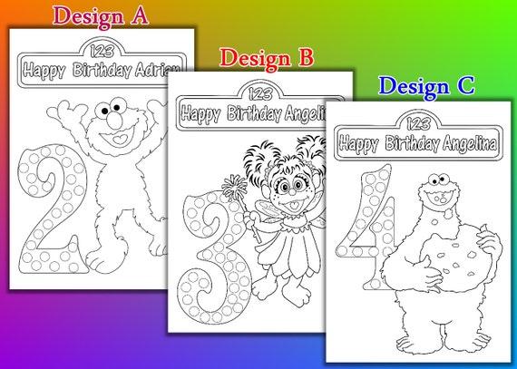 Fiesta de cumpleaños de Elmo Zoe Cookie Monster para colorear | Etsy