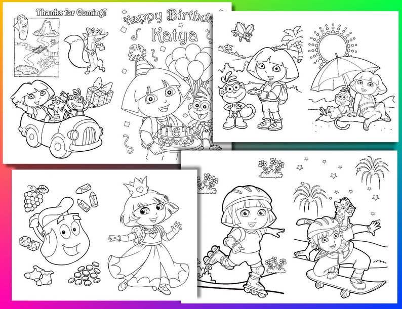Kleurplaten Dora Pdf.Dora The Explorer Birthday Party Kleurplaten Dora De Explorer Etsy