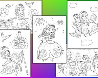 Princess Sophia coloring pages, Princess Sophia Birthday Party Favor, Instant Download, PDF file