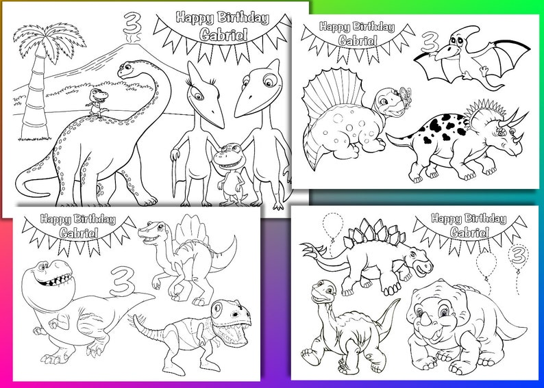 Fiesta De Cumpleaños De Dinosaurios Para Colorear Páginas Actividad Personalizado Archivo Pdf