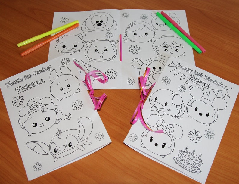 Tsum Tsum Birthday Party Coloring Pages Tsum Tsum Activity Etsy