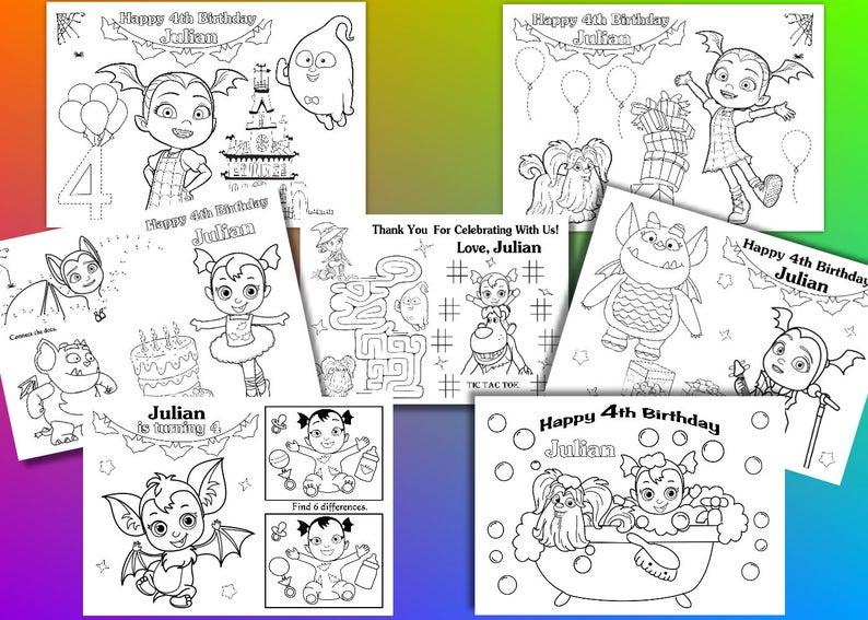 Vampirina Birthday Party Favor Vampirina Coloring Pages Pdf Etsy