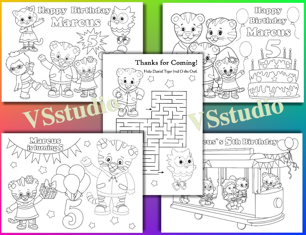Daniel Tiger Birthday Party coloring pages Daniel Tiger Party | Etsy