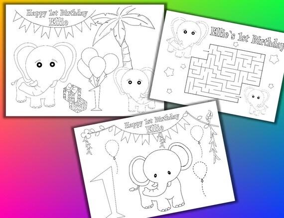 Fiesta de cumpleaños de elefantes para colorear páginas   Etsy