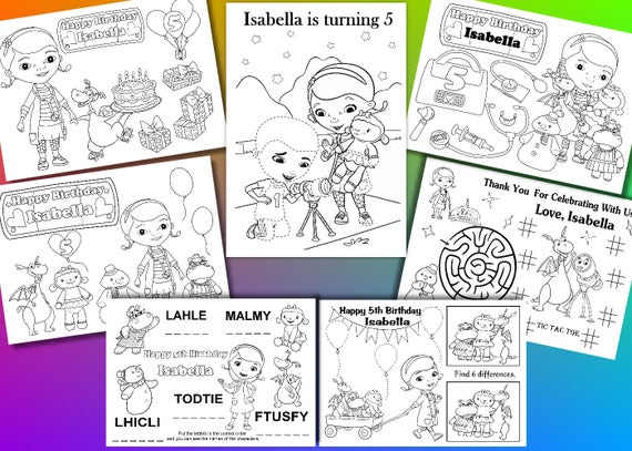 Doc Mcstuffin Birthday Party Coloring Pages Activity Pdf File Etsy