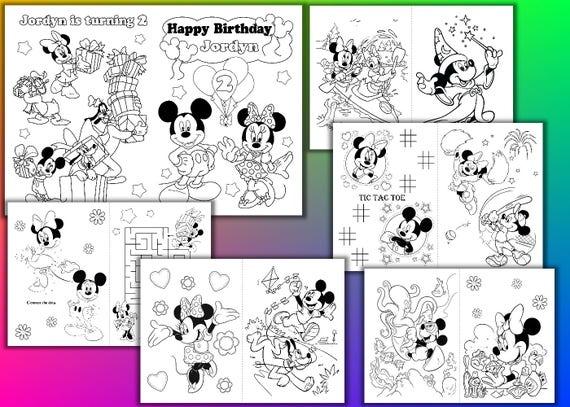 Minni y Mickey Mouse fiesta de cumpleaños para colorear libro | Etsy
