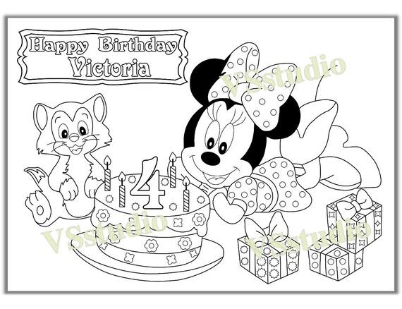 Páginas para colorear de MINNI MOUSE cumpleaños fiesta | Etsy