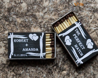 Wedding Matchbox Labels Chalkboard, Printable Personalized PDF file .