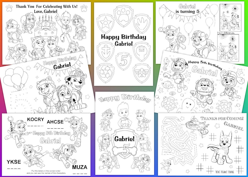 PAW Patrol Personalized coloring pages PDF file | Etsy