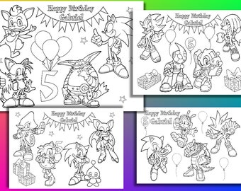 Sonic the Hedgehog Birthday Party coloring pages, activity, Personalized, PDF file