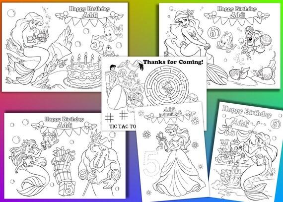 Ariel colorear fiesta de cumpleaños de la sirena para   Etsy