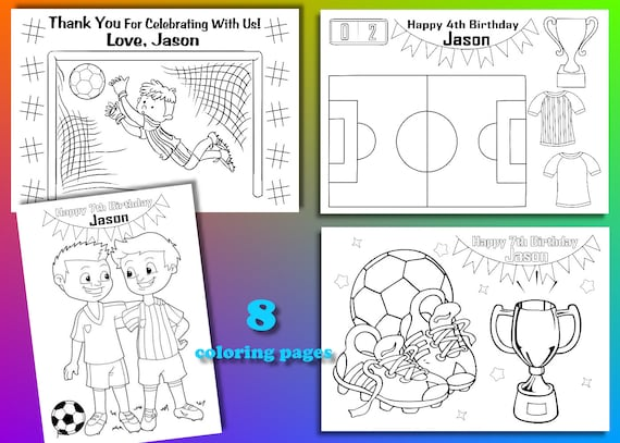 Soccer Birthday Party Favor Soccer Coloring Pages Pdf File Etsy