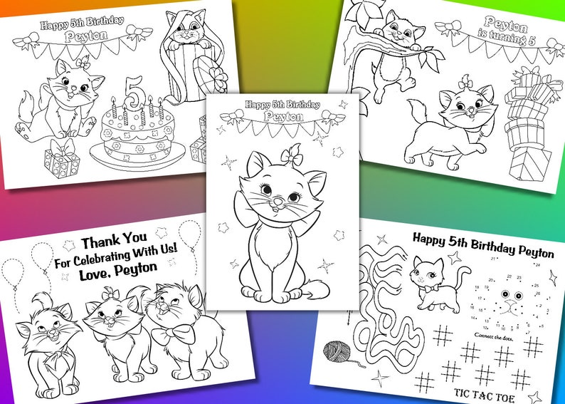 Coloriage Cirque Pdf.Kitty Anniversaire Cotillons Kitty Coloriage Pages Fichier Etsy
